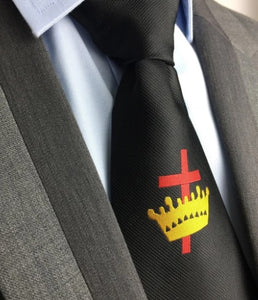Masonic Knight Templar Black Silk Tie with Embroidered Logo