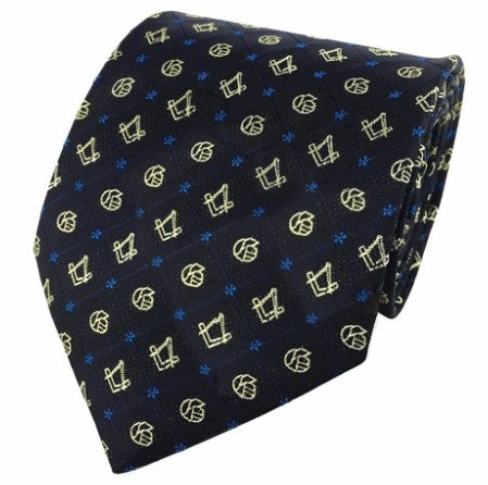 Masonic Regalia Forget Me Not Tie with Square and Compass
