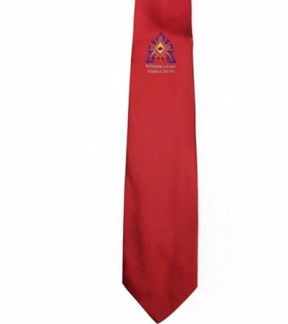Masonic Regalia Red Tie with lodge logo