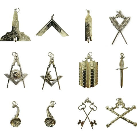 Masonic Silver Collar Jewel Set of 12