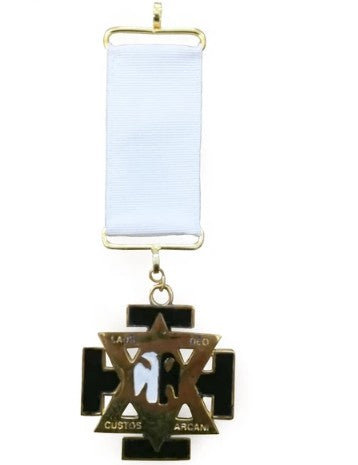 Scottish Rite Commander in Chief Officer Masonic Jewel - Wings Down, White Ribbon
