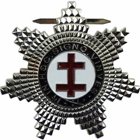 Masonic Knights Templar Preceptors Silver Plated Breast Star Jewel