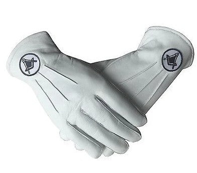 Masonic White Soft Leather Gloves With Square and compass