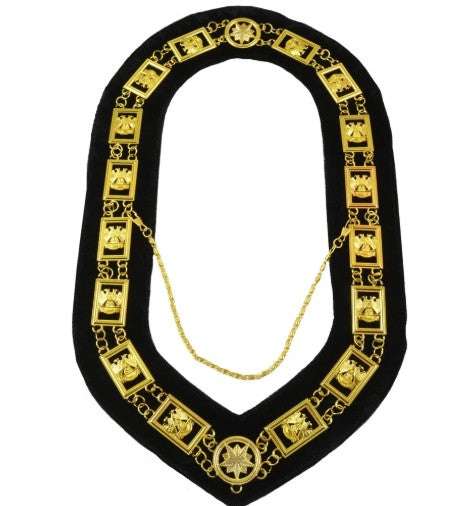 32nd Degree - Wings DOWN Scottish Rite Chain Collar - Gold/Silver on Black + Free Case
