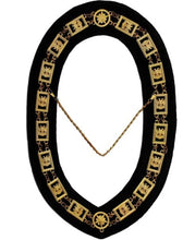 Load image into Gallery viewer, 32nd Degree - Wings DOWN Scottish Rite Chain Collar - Gold/Silver on Black + Free Case