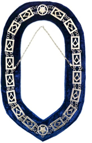 Blue Lodge Square Compass Chain Collar - Gold/Silver on Blue + Free Case