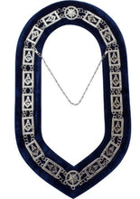 "Load image into Gallery viewer, Masonic Master Mason ""G"" Chain Collar - Gold/Silver on Blue + Free Case"
