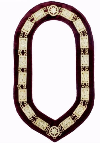 Daughters Of Sphinx - Chain Collar - Gold/Silver on Maroon + Free Case