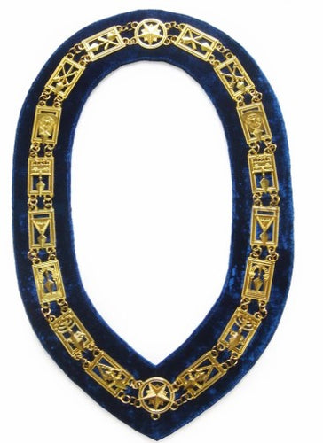 Cryptic Mason - Royal & Select Chain Collar - Gold/Silver On Blue + Free Case
