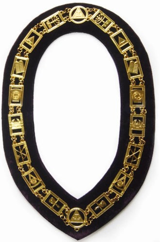 Royal Arch - Masonic Chain Collar - Gold/Silver On Purple + Free Case