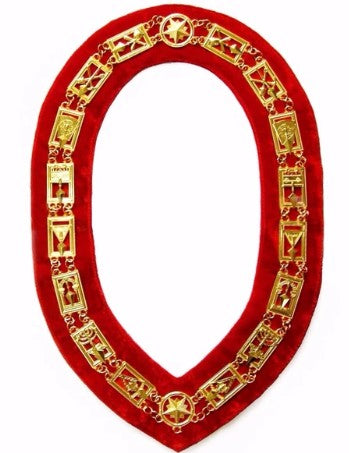 Cryptic Mason - Royal & Select Chain Collar - Gold/Silver On Red + Free Case