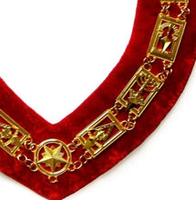 Load image into Gallery viewer, Cryptic Mason - Royal & Select Chain Collar - Gold/Silver On Red + Free Case