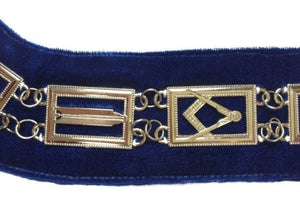 Blue Lodge Working Tools - Chain Collar - Gold/Silver on Blue + Free Case