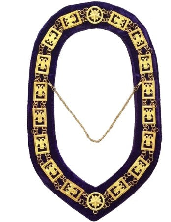 32nd Degree - Scottish Rite Wings DOWN Chain Collar - Gold/Silver on Purple + Free Case