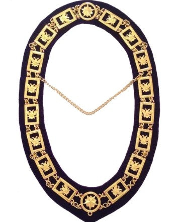 32nd Degree - Wings UP Scottish Rite Chain Collar - Gold/Silver on Purple + Free Case
