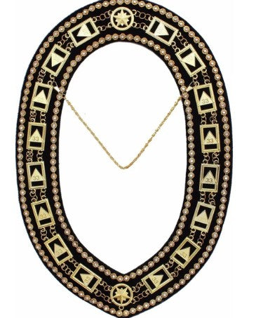 33rd Degree - Scottish Rite Rhinestone Chain Collar - Gold/Silver on Black + Free Case