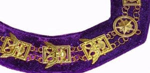 32nd Degree - Scottish Rite Wings UP Chain Collar - Gold/Silver on Purple + Free Case