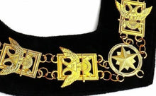 Load image into Gallery viewer, 32nd Degree - Scottish Rite Wings UP Chain Collar - Gold/Silver on Black + Free Case