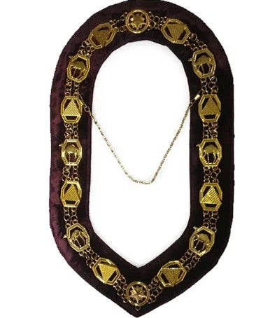 DOKO - Masonic Chain Collar - Gold on Maroon + Free Case