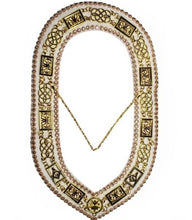 Load image into Gallery viewer, Grand Lodge - Rhinestones Chain Collar - Gold/Silver on White Velvet