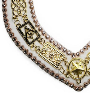 Grand Lodge - Rhinestones Chain Collar - Gold/Silver on White Velvet