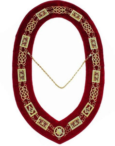 Grand Lodge - Chain Collar - GolGrand Lodge - Chain Collar - Gold/Silver on Red + Free Cased/Silver on Red + Free Case