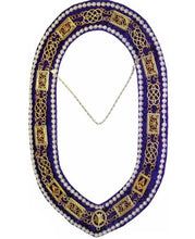 Load image into Gallery viewer, Grand Lodge - Rhinestones Chain Collar - Gold/Silver on Purple Velvet