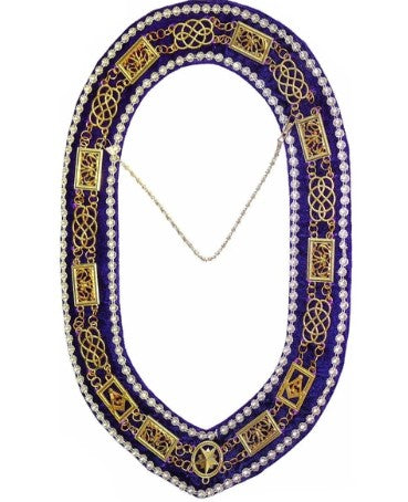 Grand Lodge - Rhinestones Chain Collar - Gold/Silver on Purple Velvet