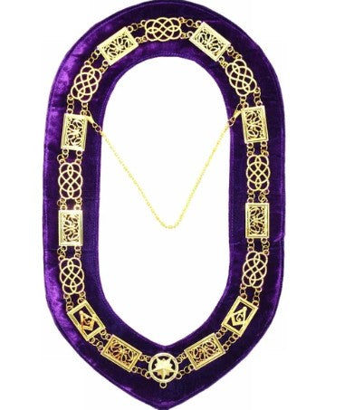 Grand Lodge - Chain Collar - Gold/Silver on Purple + Free Case