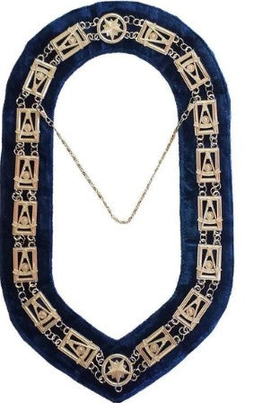 Past Master chain Collar - Gold/Silver on Blue + Free Case