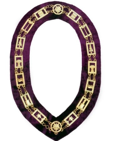 OES - Regalia Chain Collar - Gold/Silver on Purple + Free Case
