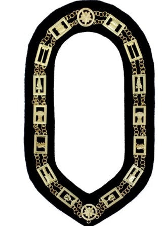 OES - Regalia Chain Collar - Gold/Silver on Black + Free Case