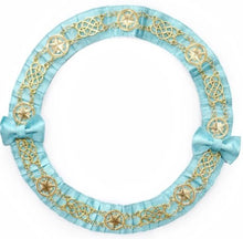 Load image into Gallery viewer, Masonic Chain Collar Round - Gold/Silver on Sky Blue Ribbon + Free Case