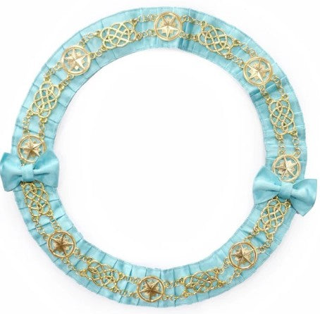 Masonic Chain Collar Round - Gold/Silver on Sky Blue Ribbon + Free Case