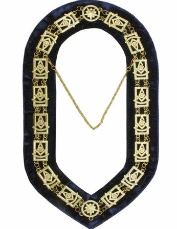 Past Master Square chain Collar - Gold/Silver on Blue + Free Case