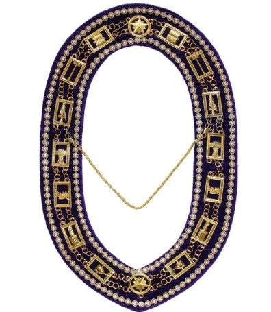 OES - Regalia Rhinestones Chain Collar - Gold/Silver on Purple + Free Case