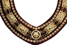 Load image into Gallery viewer, Sphinx Head - Rhinestone Chain Collar - Gold/Silver on Maroon + Free Case