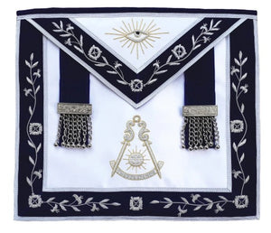 Masonic Past Master Bullion Apron Blue Hand Embroidered