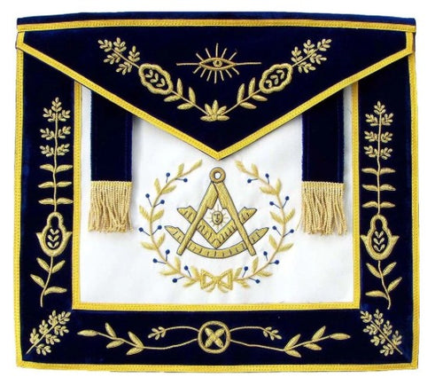 Masonic Blue Lodge Past Master Bullion Hand Embroidered Apron