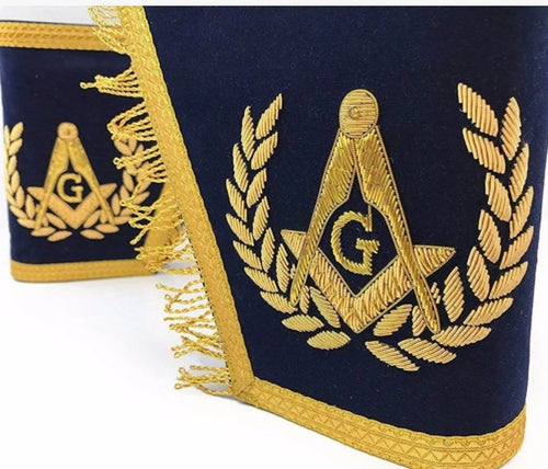 Masonic Gauntlets Cuffs - Embroidered with Fringe - Navy Blue