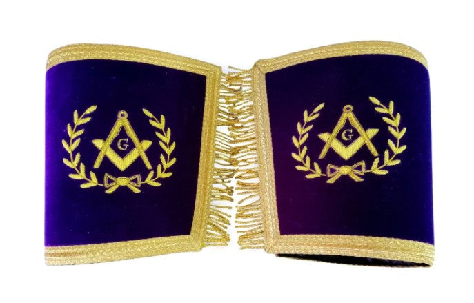 Masonic Gauntlets Cuffs - Master Mason Bullion Embroidered with Fringe