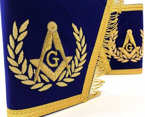 Masonic Gauntlets Cuffs - Embroidered with Fringe - Blue