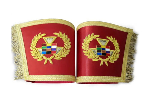 Past Grand High Priest Gauntlet Cuff Set, Royal Arch PGHP Masonic Cuffs