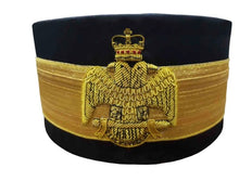 Load image into Gallery viewer, 33rd Degree Scottish Rite Crown Wings Down Black Cap Bullion Hand Embroidery