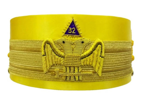32nd Degree Wings Down Scottish Rite Yellow Cap Bullion Hand Embroidery
