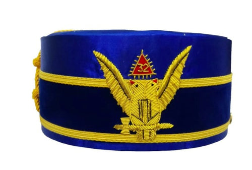 2nd Degree Scottish Rite Wings UP Blue Cap Bullion Hand Embroidery