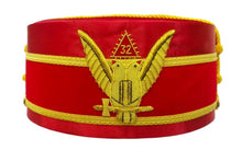 Load image into Gallery viewer, 32nd Degree Scottish Rite Wings UP Red Cap Bullion Hand Embroidery