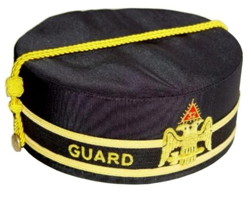 32nd Degree Guard Scottish Rite Wings Down Black Cap Hand Embroidery