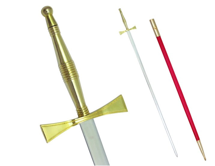 Masonic Sword with Gold Hilt and Red Scabbard 35 3/4