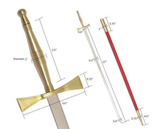 "Load image into Gallery viewer, Masonic Sword with Gold Hilt and Red Scabbard 35 3/4"" + Free Case"